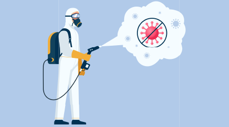 Vector image of frontline cleaning staff wearing PPE and spraying disinfectant