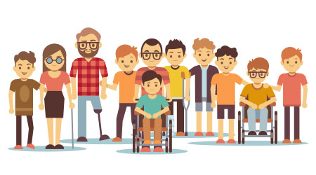 Vector image of people with disabilities