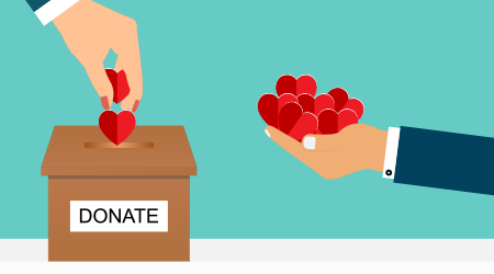 Vector illustration of people putting hearts into a donation box