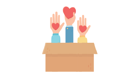 Arms and hands extending out of a box with hearts in their palms