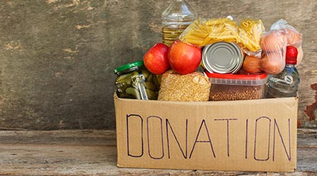 A box of food to donate
