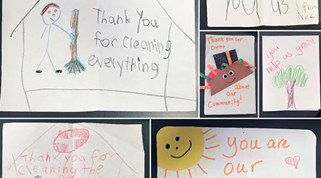 A set of thank you cards made by small children for frontline hospital workers
