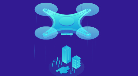 A vector image of a drone flying over a city and buildings