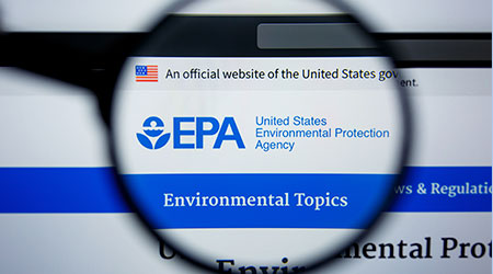 Magnifying glass hovers over EPA website