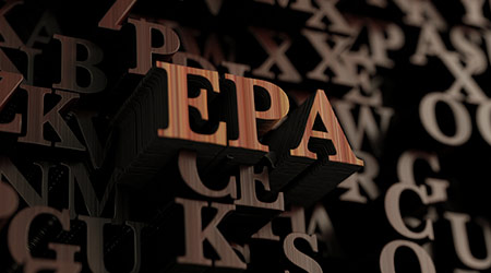 "A rendering of 3D letters spelling out ""EPA"""