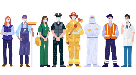 A vector image of a bunch of essential workers wearing masks
