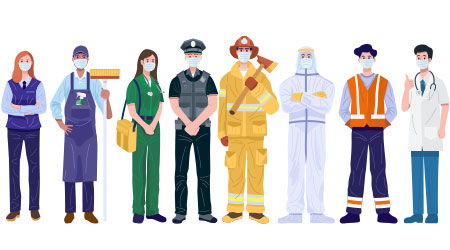 A vector image demonstrating the different types of essential workers