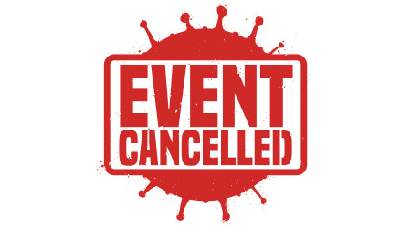 Red stamp with coronavirus silhouette representation, announcing the cancelation of events due COVID-19 outbreak
