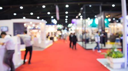 Blurred image of a trade show