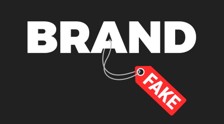 A take reading fake attached to the word brand