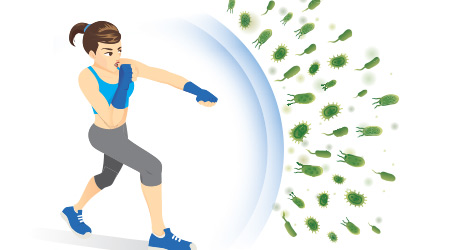 Healthy woman reflect bacteria attack with punching. Concept illustration about boost Immunity with Exercise