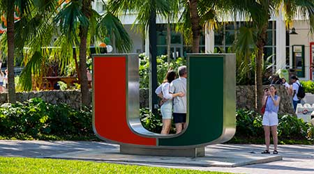 Coral Gables, Florida/USA - February 15, 2020: University of Miami Logo monument. Peoples take pictures near the Miami University Symbol.  Y