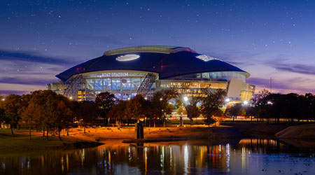 View outside AT&T Stadium at night