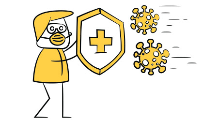 doctor using medical shield to protect virus covid - 19 protection concept yellow stick figure