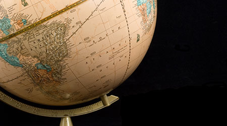 A globe, with the image focused on the Southern Hemisphere