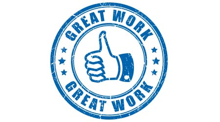 "A stamp of a thumbs up that says ""great work"""
