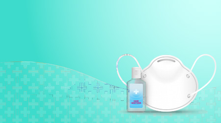 Vector image of a person using hand sanitizer