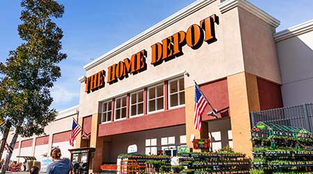 Feb 19, 2020 San Mateo / CA / USA - People shopping at Home Depot in San Francisco bay area; The Home Depot, Inc. is the largest home improvement retailer in the USA