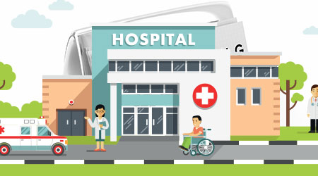 A vector image of a hospital