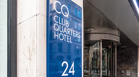 A sign outside a Club Quarters hotel in London