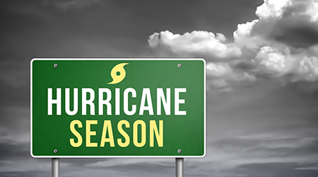 """Hurricane Season"" written on a green and yellow sign"