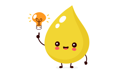 Vector image of a smiling drop of urine next to a light bulb