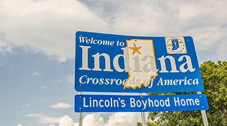 Sign welcoming people to Indiana