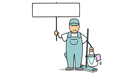 vector image of a male janitor holding up a sign in protest