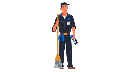 male janitor in black uniform holding mop. Cleaning service and hospital disinfection. Flat style vector illustration on white background