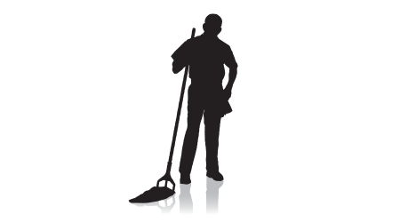 Silhouette of a janitor in a vector image