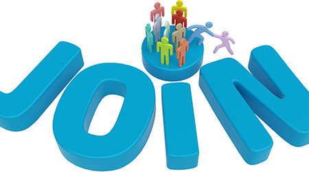 Helping hand to new member to connect with social group or company on the word JOIN