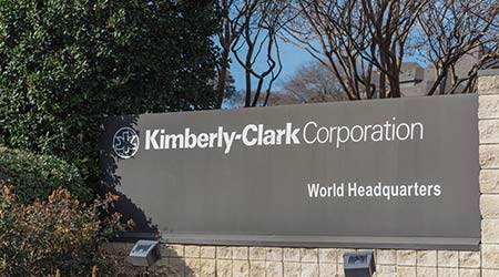 Main entrance to world headquarters of Kimberly-Clark. American multinational personal care corporation produces paper-based consumer product as Kleenex, Huggies, Kotex  T