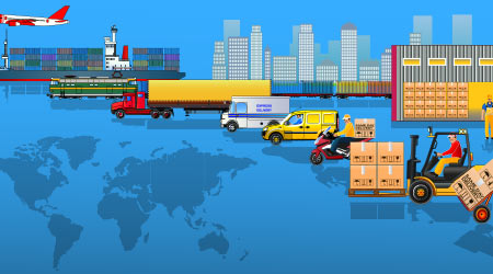 A vector image depicting all of those involved in the global supply chain