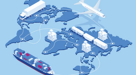 Isometric illustration of the worldwide supply chain
