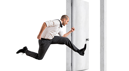 Turning point in your life. bald man in tie jumping out the door