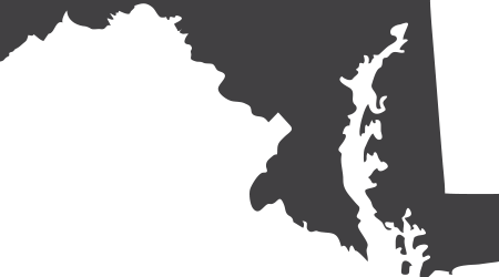 The state of Maryland in black on a white background