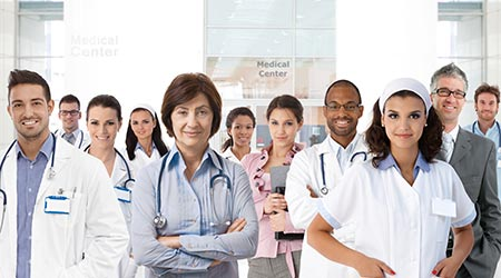 Portrait of medical center team, doctors, nurses