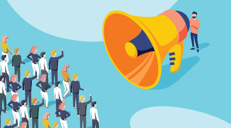 Isometric vector of a businessman or politician with megaphone making an announcement to a crowd of people. Abstract advertising of politic company or business corporate leader. Talking with customers