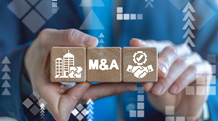 Merger and Acquisition Business Corporate Cooperation Company concept. M&Q partnership concept on wooden dices in businessman's hands.  P