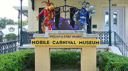 View of the Mobile Carnival Museum, located in the historic Bernstein-Bush mansion on Government Street in downtown Mobile, Alabama.  E