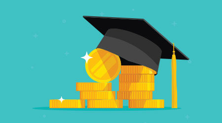 vector image of a graduation cap and coins to depict a scholarship