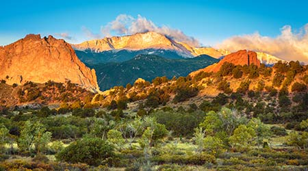 Garden of the Gods and Pike's Peak in Colorado Springs