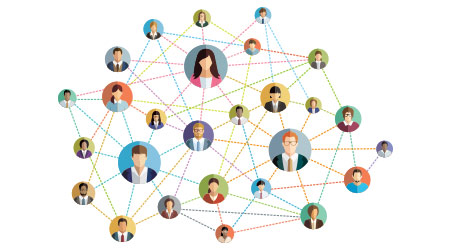 Vector illustration of an abstract social network scheme, which contains people icons connected to each other