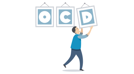 "Vector image of a man holding up letters that spell out ""OCD"""