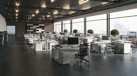 The inside of an office