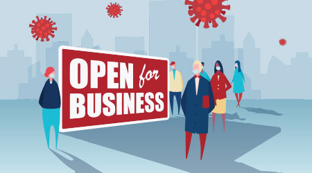 Vector image of people standing in front of a huge open for business sign in a city plagued by COVID-19