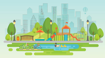 Vector image of a city park with a playground and pond