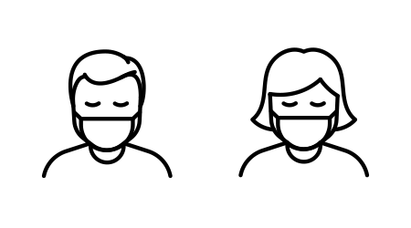 Vector image of a man and woman wearing a face mask