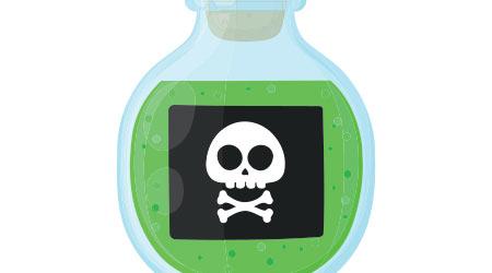 Bottle of magic acid green toxic poison with skull. Vector flat cartoon illustration icon design. Isolated on white background. Poison bottle concept
