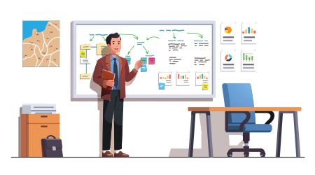 Boss man preparing whiteboard presentation on business regional marketing strategy using diagrams, sticky notes in his office. Leader planning presentation. Flat vector character illustration